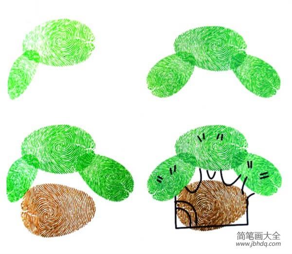手指印画大树创意图片_手指印画图片大树的画法