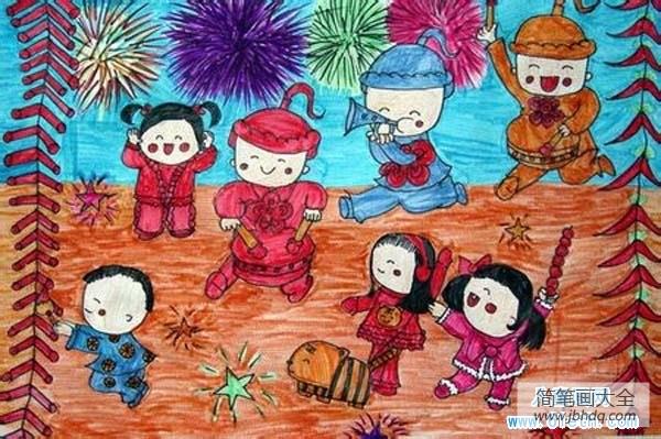 儿童医院_儿童欢乐过新年场景儿童画图片