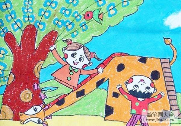 《春》画春草图图片_儿童画春天的图画绘画作品图片