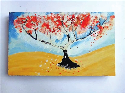【手指印画大树创意图片】大树创意旧木画