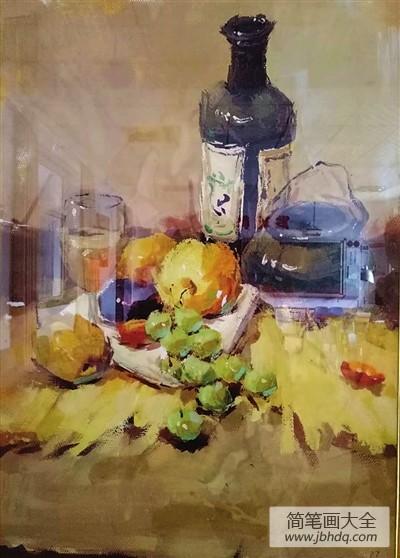 油画水果静物图片|油画:水果静物
