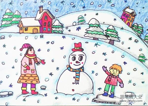 [儿童画画学习]儿童画冬天绘画作品