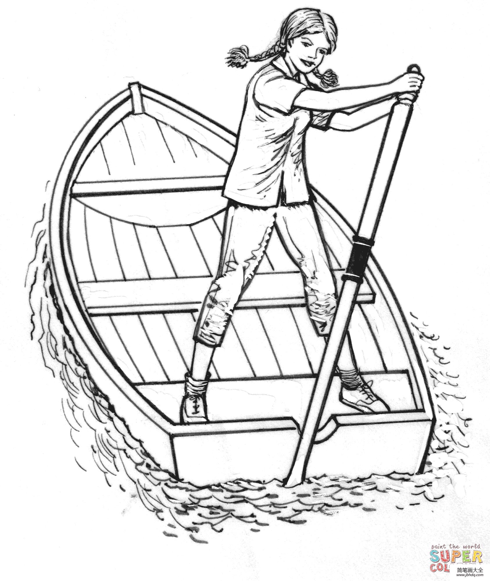 【小仙女简笔画】小女孩划船