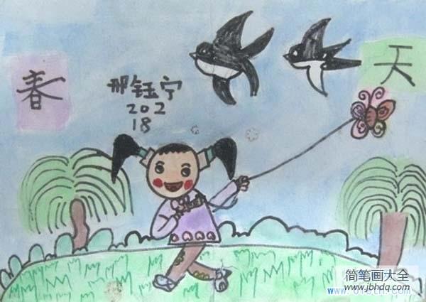 二年级上册数学练习题|二年级春天儿童画:春风里放风筝