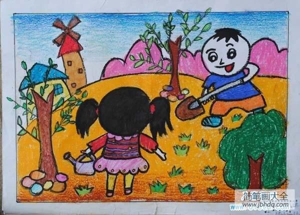 春天植树看图写话_春天植树儿童画图片
