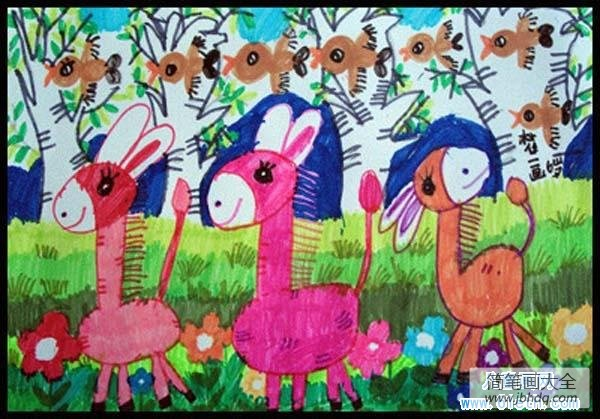 春天会出现哪些小动物_春天森林里的小动物儿童画图片