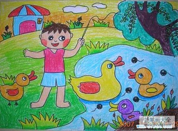[优秀的优成语词典]优秀的幼儿春天儿童画作品:春天的池塘