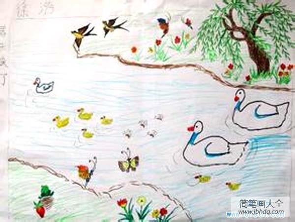 春天的画简单又漂亮|漂亮的描绘春天的儿童画图片