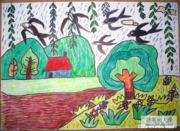 春天的画简单又漂亮|漂亮的小学生春天儿童画图片