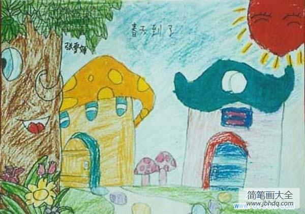 【可爱的卡通头像】可爱卡通儿童春天蜡笔画:春天到了