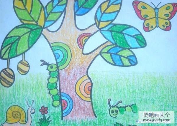 蜡笔画春天的景色_儿童春天蜡笔画:小虫与蜗牛