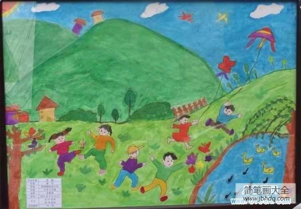 【优秀的近义词】优秀的春天儿童画:放风筝