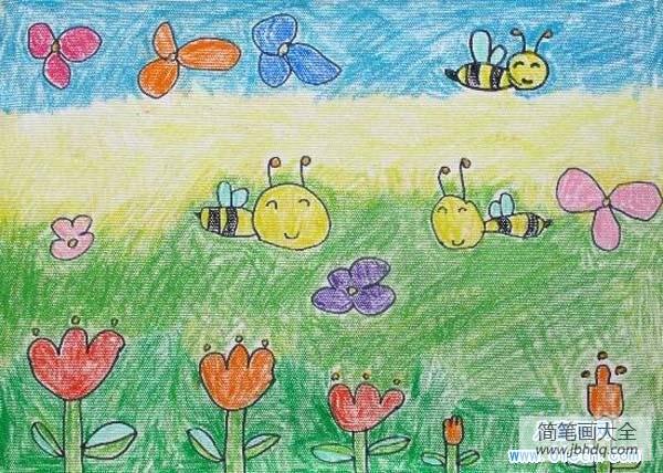 [蜡笔画春天的景色]幼儿园春天蜡笔画:小蜜蜂
