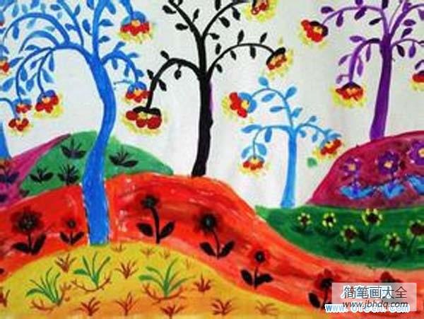 描写春天的诗|春天的野外儿童画