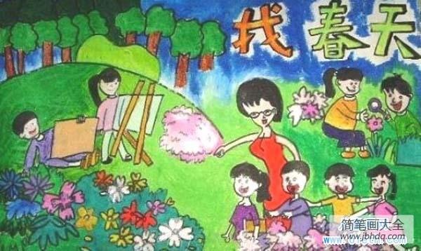 小学一年级数学练习题_小学春天儿童画:找春天