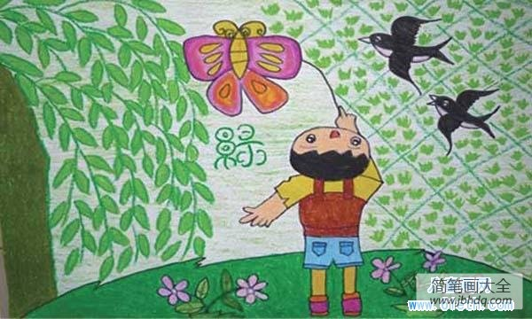 [春天二手车]春天儿童画图片:绿柳春燕放风筝
