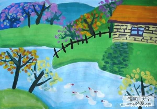 [春天的水粉画]儿童春天风景水粉画