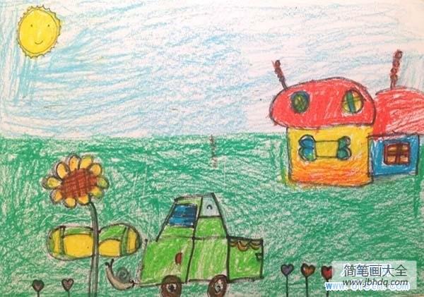 蜡笔画春天的景色|春天蜡笔画作品:公路旁的小屋