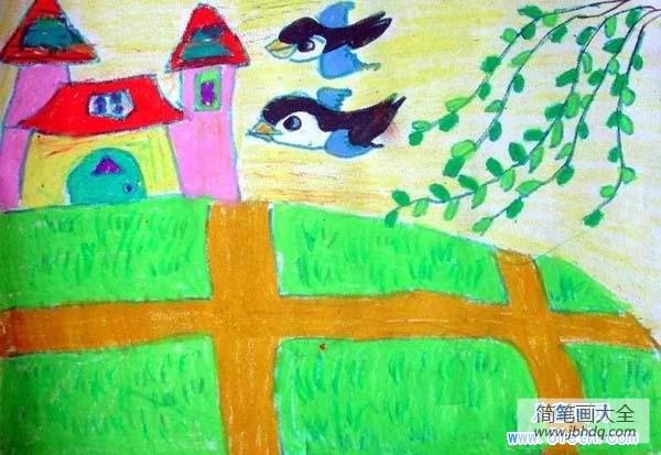 中秋画作|儿童画作品:春天的田野