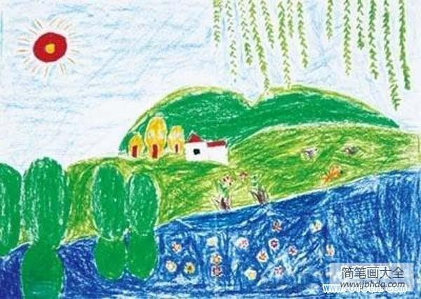 [春天蜡笔画的图片大全]儿童春天蜡笔画图片