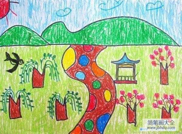 春天的风景作文|小学生春天的风景儿童画图片