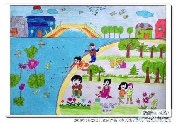 [春天的公园]春天公园场景儿童画画图片