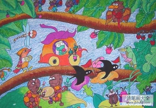 春天绘画作品一等奖|春天卡通儿童绘画作品欣赏:春天里的森林音乐会