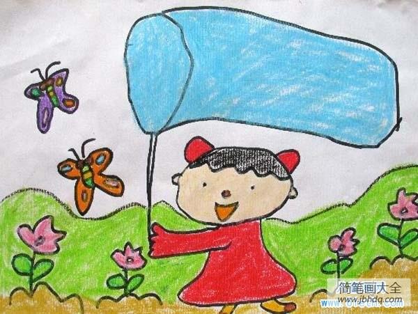 一年级数学上册练习题_一年级春天儿童图画图片:郊外捕蝴蝶