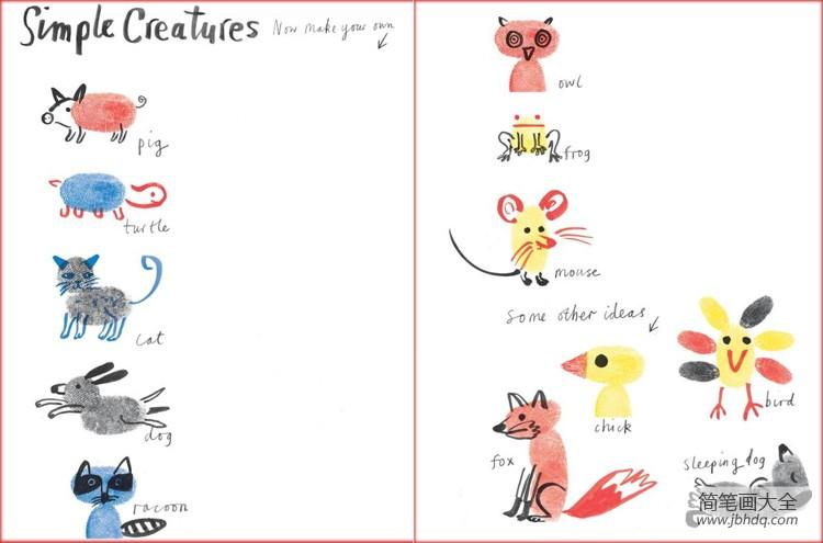 [简单又好看指印画]简单的动物指印画