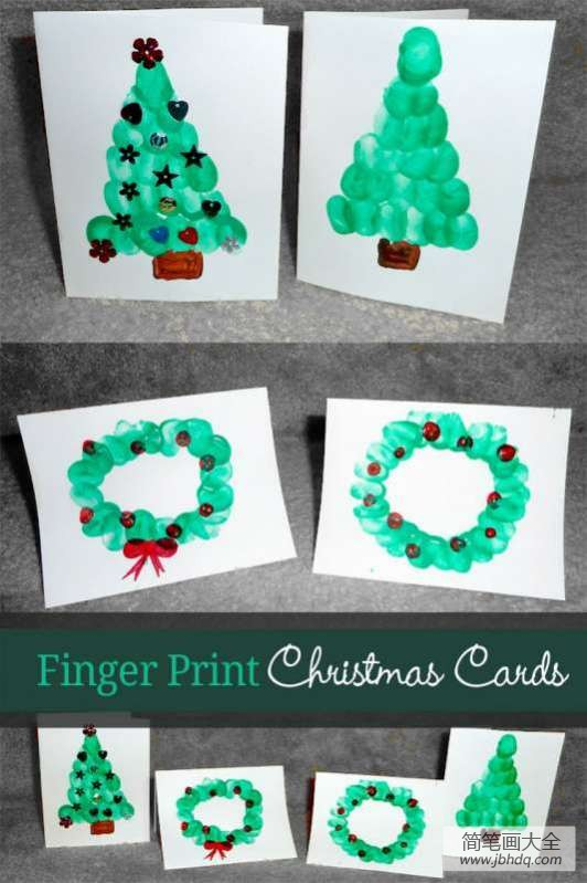 圣诞花环图片|圣诞树圣诞花环手指画