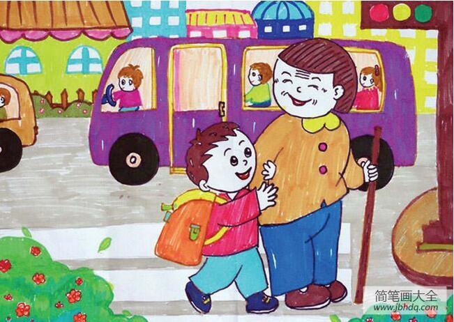 【扶老人过马路的手抄报】扶老奶奶过马路学雷锋日主题绘画