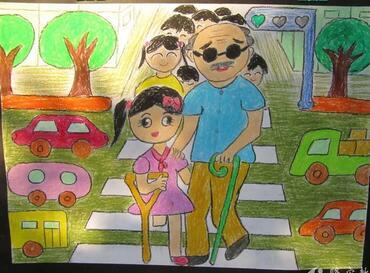 扶盲人过马路看图写话_扶盲人爷爷过马路关于学雷锋的画分享