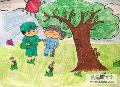 【迷路了警察送回家】送迷路的老奶奶回家学雷锋日主题绘画
