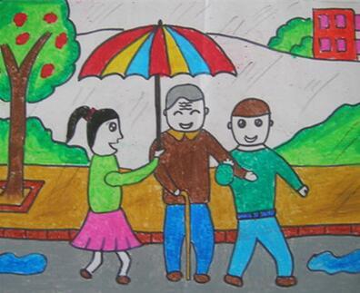 【学雷锋助人为乐下联】助人为乐的小朋友学雷锋日绘画图片