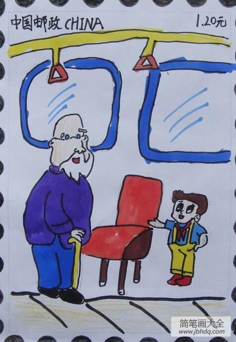 给老师的一封信|给老爷爷让座学雷锋日主题绘画分享