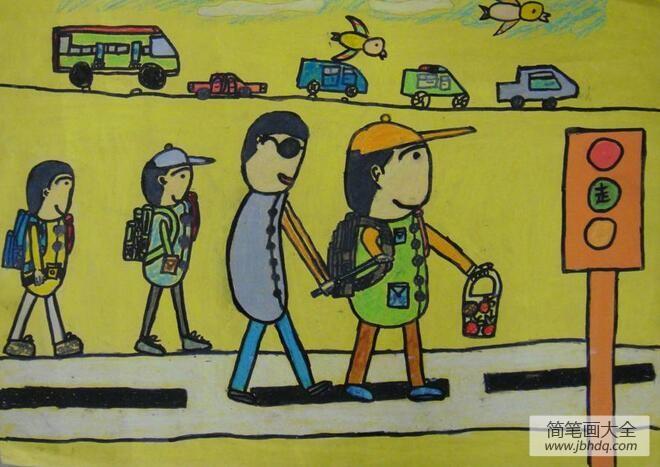 扶盲人过马路看图写话_扶盲人过马路小学生学雷锋的画展示
