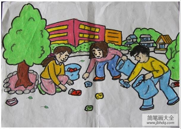 学雷锋的绘画作品_小学生学雷锋日绘画作品之捡垃圾