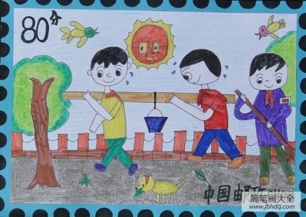 挑水泡_挑水的小男孩关于学雷锋的画分享