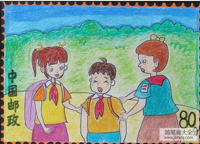 [朋友伤心了怎么安慰]安慰伤心的小孩学雷锋主题儿童画