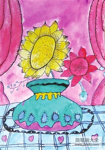 [向日葵水彩画步骤图片]向日葵水彩画