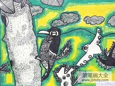 啄木鸟之家|啄木鸟儿童画