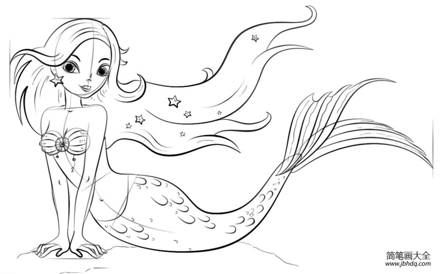 如何画一个卡通美人鱼