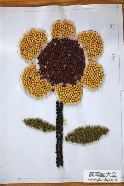 【向日葵怎么画】向日葵粮食画