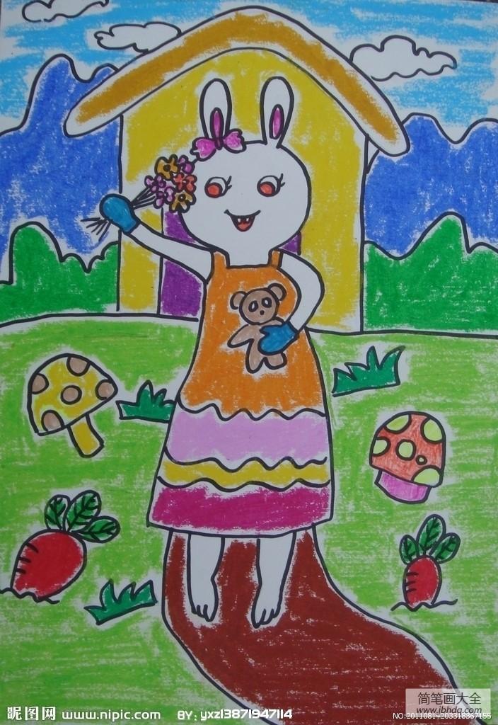 关于妇女节的作文|关于妇女节的儿童画-小兔子准备的礼物