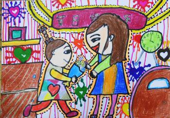 幼儿园数学练习题_幼儿园妇女节儿童画-妈妈节日快乐