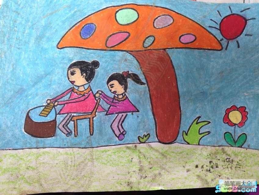 [妇女节是几月几日]有关妇女节的儿童画-我给妈妈捶背