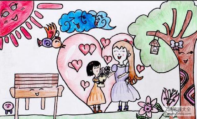 【幸福的时光 段奥娟】幸福的母女俩三八妇女节绘画优秀作品分享