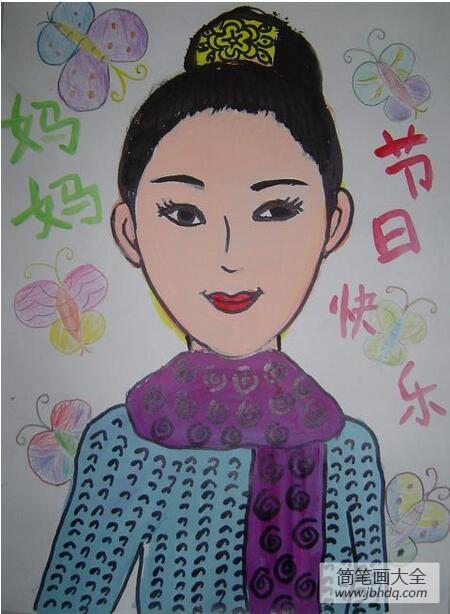 祝妈妈节日快乐三八妇女节幼儿画