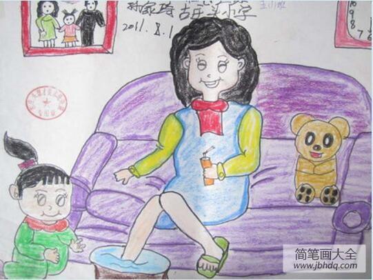 帮妈妈洗脚的小女孩妇女节画画图片