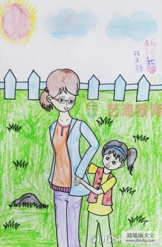 驴妈妈|和妈妈一起去踏青10岁小朋友妇女节绘画图片
